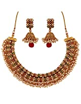 Antique Copper Pearl Choker Necklace and Jhumki Earrings
