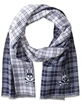 Psycho Bunny Men's Shadow Plaid Reversible Scarf, Navy, One Size