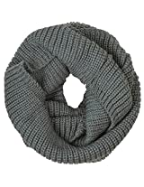 Warm Infinity Circle Ring Tube Scarf Solid Color Unisex for Winter, Dark Grey.