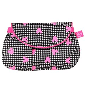 Be For Bag Hounstooth With Mickey Face Cut Out Over Print Floro Pink Clutch Sling (JULIA)