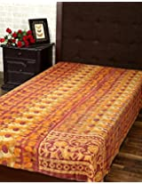 Indian Single Gudri Burgundy Cotton Vintage Kantha Work Throw Blanket By Rajrang