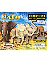 Elephant 3D Wood Puzzle Wooden Construction Kit by Wild Adventures