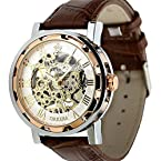 ESS Men's Classic Skeleton Dial Semi Automatic Mechanical Watch WM342 Brown