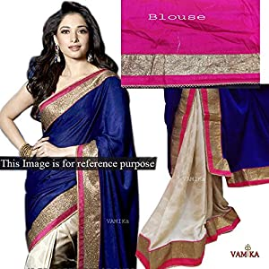 Tamannaah Bhatia Velvet Embroidered Blue Bollywood Style Saree - T2