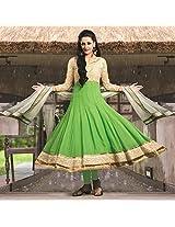 Green Georgette Semi Stitched Anarkali Suit