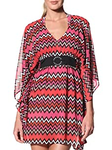 Perry Ellis Women's On Point Cover Up Tunic (Pomegranite)