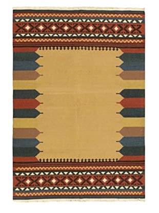 Istanbul Yama Kilim Casual Kilim, Blue/Brown/Orange, 5' 6