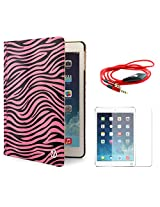 VG Zebra Print Mary Smart Cover Portfolio KickStand Smart Case For Apple iPad Air (Pink) + AUX Cable + Matte Screen