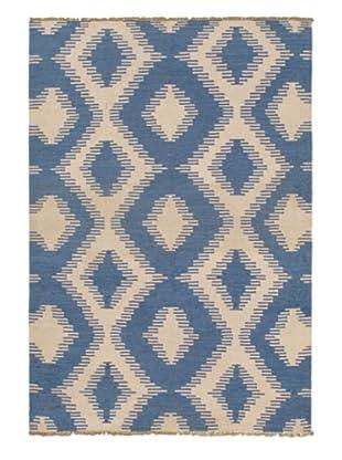 Hand Woven Ankara Flatweave Kilim, Blue/Blue Azure/Cream, 4' 6