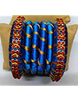 HANDMADE BANGLE SET WRAPPED WITH BLUE AND GOLDEN SILK THREAD
