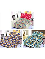 Nature Made Pack of 3 Blue & Red & Blue Printed Double Bed Sheets 250 TC