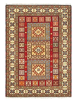 Hand-Knotted Royal Kazak Rug, Cream/Red, 4' 3