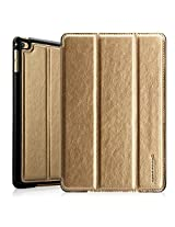 Jisoncase iPad mini 4 Leather Case Auto Wake/Sleep Smart Cover with Stand Function and TPU Back for Apple 2015 New Released iPad mini 4th Genaration, Gold JS-IM4-02R84