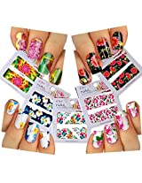 Nail Art Water Slide Tattoo Decals Full Cover Red Flowers With Large Petals / White Peony / Pink Roses / Butterflies. Multicolor, 5 Pack For Elegant Nail Art