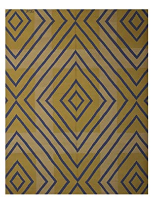 French Accents Modern Flatweave Killim Rug (Blue/Gold/Cream)