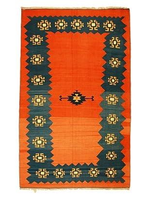 Kilim Rug, Orange/Blue