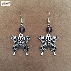 Under the Feather Charm Earrings- Silver Butterfly