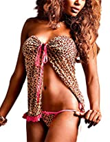Baci Lingerie Women's The Animal Inside Two Piece Babydoll Set