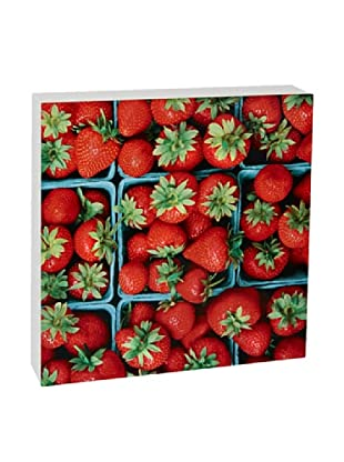 Art Block Strawberries - Fine Art Photography On Lacquered Wood Blocks