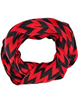 Simplicity Women's Kintted Warm Infinity Chevron Print Zig Zag Scarves, Red