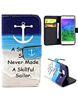 Bracevor Smooth Sea Never Made A Skillful Sailor Design Wallet Leather Flip Cover for Samsung Galaxy Alpha G850 - Multicolour