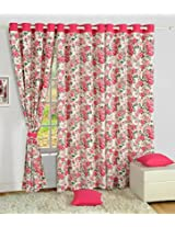"Swayam Curtain - 54""x60"" Concept Printed Cotton Window Curtain - 54""x60"", Pink (CURW-1428)"