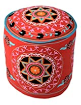 Cultural Ottoman Red Cotton Floral Embroidered Pouf Cover By Rajrang