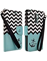LG G Stylo Case, LG G Vista 2 Case - Magnetic Leather Folio Flip Book Wallet Pouch Case Cover With Fold Up Kickstand and Detachable Wrist Strap - Teal Chevron Anchor