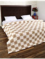 Lovely Hand Block Printed Cotton Quilt Double White Floral By Rajrang