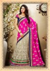 Gorgeous Beige Embroidered Lehenga Sarees