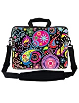 Meffort Inc 17 17.3 inch Neoprene Laptop Bag Sleeve with Extra Side Pocket Soft Carrying Handle & Removable Shoulder Strap for 16 to 17.3 Size Notebook Computer - Art Design