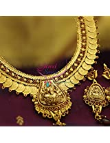 Temple Jewellery Antique Finish Necklace Set With Ear Rings
