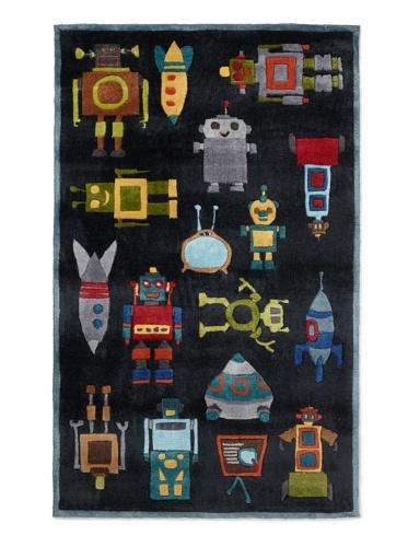 Lil Mo Robots Rug (Steel Blue)