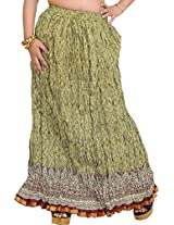 Exotic India Fennel Seed Crushed Elastic Skirt with Floral Print and Got - green
