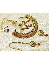 Antique Bollywood Style Gold Plated Bridal Kundan Heavy Necklace Set Wedding- LFN001