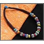 Brown thread choker with multiple color beads