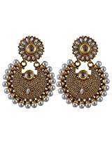 Adwitiya Gold Plated Pearl Danglers Studded With Kundan In Centre