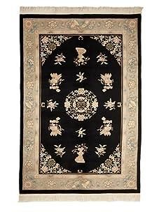 Vintage Chinese Art Deco Rugs (Black Multi)