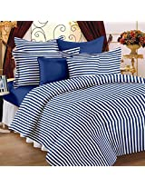 Story@Home Magic Collection Standard 152 TC 100% Cotton Striped Double Bedsheet With 2 Pillow Cover - Blue