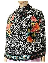Indian Fashion Guru  Black  gift  woolen stole  Flower design  Embroidery stole  shawl