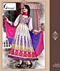 White Heavy Anarkali Dress Material