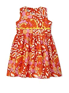 Noa Lily Girl's Triangle Back Cut Out with Flowers Dress (Red)