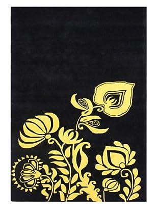 Alliyah Rugs New Zealand Wool Rug (Black/Sunset Gold)