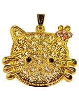Pen Drive ZT11609 Kitty Face Shape Fancy Jewellery Style 16 GB USB 2.0 pen drive in Golden Color