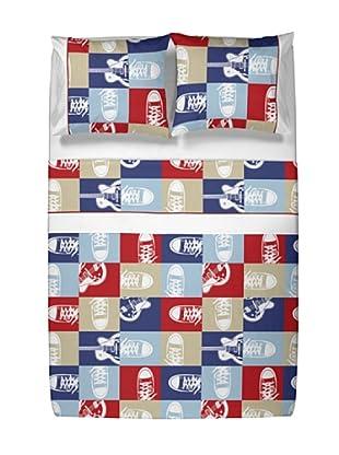 Casual Textil Juego de Sábanas Rebel (Azul/Rojo/Beige)