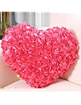 Valentine's Day Gift Sequence Roses Pillow for Her 25 x 22 cm (Pink)