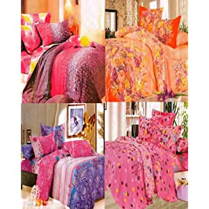 Multi Colored Combo Pack of 8 Pillow Covers and 4 Daily Use Double Bed Sheets by Homefab India