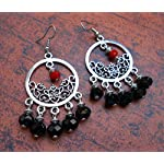 Black and red fancy earrings from Violetsz