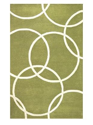 Kavi Handwoven Rugs Falling Circles Rug (Green/White)