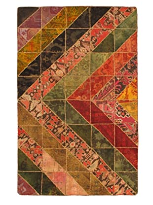 Hand-Knotted Patch Deluxe Wool Rug, Dark Red/Green, 5' 2